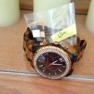 Michael Kors gold tortoise watch